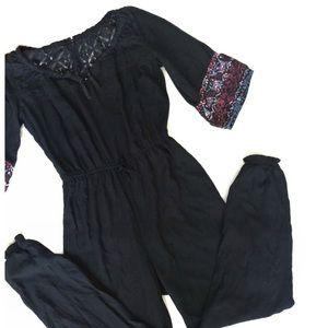 Abercrombie Kids Black, Floral, Lace Jumpsuit • XL